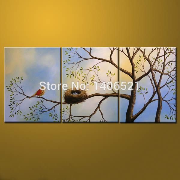 """O envio gratuito de 100% pintura a óleo Handmade pintura romântica pássaros no ramo de árvore """" canto dos pássaros e perfume das flores """"(China (Mainland))"""