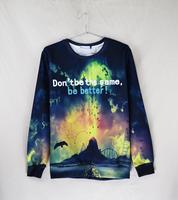 2014 HOT 3D print sweatshirts hoodies flower pullover sportswear brand  tracksuit men sky air cheaper wholesale retail