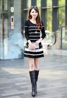 The new 2014 autumn decorates body temperament stripe dress couture autumn render dress long sleeve cardigan