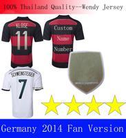 A+++ 4 Stars Germany Patch Men Thailand Alemanha 14 15 Home Away Black Red Jerseys Futbol Kroos Klose Muller Gotze