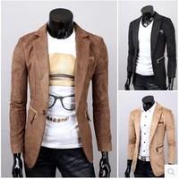 Mens Casual Slim Fit One Button Suit Blazer Coat Korean Fashion Clothing Men Blazer Masculino Com Capuz School Uniform For Men