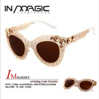 The Ultimate Luxury Queen BAROQUE Style Retro Hollow metal All Noble Relief oculos de sol Cat Eye Sunglasses Women 9276