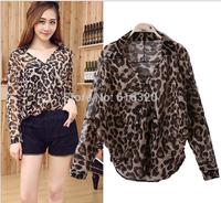 LF1226  Sexy Perspective V-neck Women Leopard  Blouse  Blusas Femininas 2014 Ladies Long Sleeve Casual Blouses Shirt