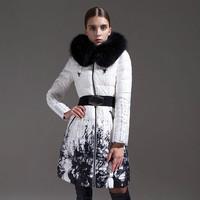 2014 New women winter jacket Long Large Raccoon Fur Collar metal belt Zipper Print warm Slim Hooded coat Women duck down jacket
