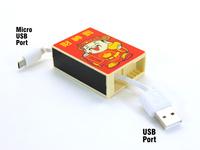 Creative Cute Retro Cartoon Match box Design Square Retractable Usb Cable Data line