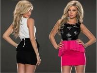 2014 summer Autumn girl dress New Sexy Patchwork Flowery Rhinestone Slim Tank Dresses  Peplum Dress LC21681