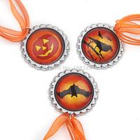 Classic Pumpkin Raven Bat Halloween Necklace Pendants Ribbon Necklace DIY Jewelry Accessories Free Shipping