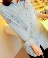 2014 spring and summer new Korean wild Slim patch mosaic pearl buckle long-sleeved denim shirt colored shirt female