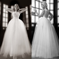 Fast Shipping Ball Gown Wedding Dress Real Sample White Lace Tulle Floor Length Women Dress For Bride