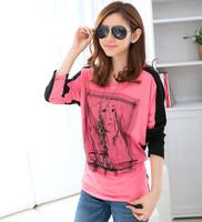 2014 Autumn Hitz Korean women were thin long-sleeved T shirt loose large code base shirt female blouse free shipping