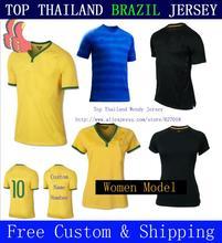 A + + + Top tailândia brasil versão jogador Thai 2014 longe azul 3RD verde Soccer Jersey Futbol Shirt Neymar jr David Luiz Oscar(China (Mainland))