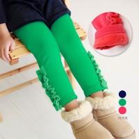 2014New Autumn-Winter Thick Warm Girl Leggings Skinny Pants Trousers Lace Pearl Kids Fleece Plush Elastic Pants Bottoms