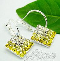 925 Silver Earrings Jewelry Fashion Earrings Fashion Jewelry Crystal Earrings Square MDE128