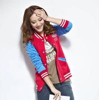 6169 # baseball shirt collar lovers big yards influx of Korean women sweater jacket baseball uniform jacket