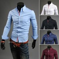 Hot sales!2014 summer new mens shirts  famous luxury brand shirt,fashion casual  Pure  long-sleeved men shirt Free Shipping