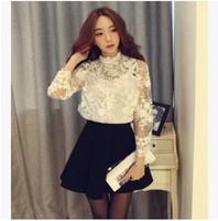 New Arrivals Elegant White Sexy Transparent Lace Embroidery Blouse + White Tank 2  Pieces Set 2014 Fashion Clothes Wholesale