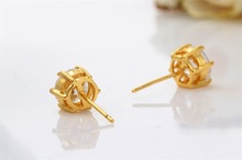 18K Yellow Gold Plated Solitaire 6 Prongs Cupid Cut Cubic Zirconia Mini Stud Earring Fashion Unisex