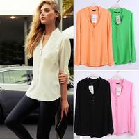 Women Casual Shirts Spring Summer Long Sleeve V Neck Feminina Chiffon Top Shirt Blouses Plus Size S-XXXL 2014 New CHIC! W4386