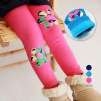 Free&Drop Shipping, Flower Appliqued Girl Winter Leggings Fleece Plush Kids Child Thick Warm Pants Trousers Boot-cut