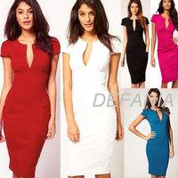 New Classic Elegant Ladies V-Neck Fashion Celebrity Pencil Dress,Women Slim Knee-Length Party Bodycon Dresses XS-XXL DFN 1046