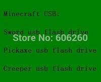 Creeper usb flash drive Sword usb flash memory Pickaxe usb flash disk Minecraft usb 4GB 8GB 16GB 32GB 64GB real memory