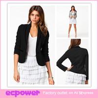 2014 New Fashion Women Blazer Short Design Turn Down Collar Slim Blazer Grey Short Jacket Coat Free Shipping
