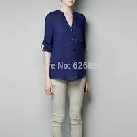Autumn Women Chiffon Blouse Casual Shoulder With Epaulet Long Sleeve V-Neck Shirt  Sleeve Rolled UP Translucent Blusa  BD 64