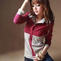 2014 Hitz Korean Women lapel stitching influx of fake two long-sleeved shirt Slim large size women T shirt blusas femininas