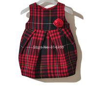 5pcs/lot BILIBAYA 2014 Baby Girl Clothing Children Plaid Autumn Dresses Girls Flower Dress Baby Sleeveless Dress Free Shipping