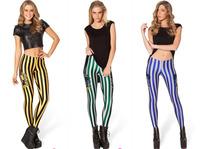 Desgin 2014 Women's Stripe Cross Leggings Sexy imitation Slim Points Pants Women's Leggings Blue Golden Green Wholesale 499-2