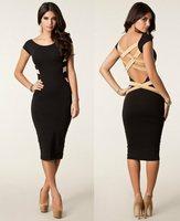 2014 New European Fashion Women Sexy Plus Size Black Bodycon Dress Celebrity Casual Dress Backless Bandage Dress