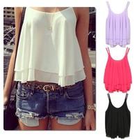 Summer Casual Shirts Sleeveless Spaghetti Strap Fashion Sexy Chiffon Women Blouses Vest Tops W4387