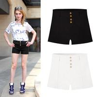 Summer Beach Style Womens Shorts Button Design Slim Waist Bodycon Cotton Short Fashion Candy Color Casual Vaction Clothes 3586