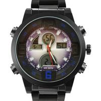 2014 Brand Digital Analog Men Watch Dual Time Backlight Alarm Full Steel Outdoor Sports Quartz Watch Military Men Sports Watches