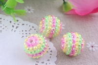 Pastel Rainbow  Pink Lime Yellow 20MM 100pcs  Chunky Resin Rhinestone Beads Resin Ball Chunky Beads for Chunky Necklace Jewelry