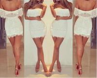 2014 New Europe / beauty sexy low cut dress white lace
