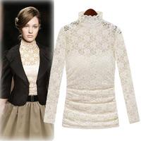Ladylike Style Lace Crochet Tops Fashion Elegant 2Piece With Vest Long Sleeve T-Shirt Noble Renda Collar Slim Waist Tees 5086