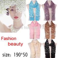 190*50CM2014New Fashion Spring Summer Brand Silk Scarf Women Winter Warm Tassel Scarf female Wrap Shawl Scarves Infinity salomon