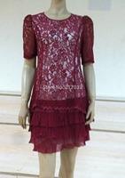 2014 New Fashion  Women's  Package Hip stitching Slim Round Neck mid -Sleeved  Dress