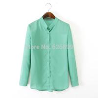 2014 Women's Chiffon Blouse Front Short Back Long Style Long Sleeve Mandarin Collar Button Femininas Blusa BD 66