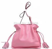 New 6 Candy Colors Qulity Genuine Leather Tassel Decoration Handbag Fashion Women Lady Messenger Shoulder Bag Female Bucket Bags