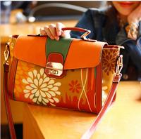 UniCalling brand fashion irregular flower print color block women handbag girl vintage colorful handbag tote shoulder bag female