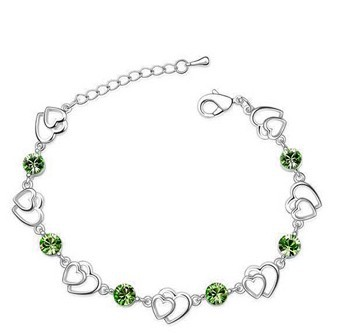 Austrian crystal bracelet wholesale discus the Czech drill double hearts alloy bracelet,Fashion Jewelry 6008B012(China (Mainland))