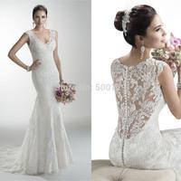 vestido de noiva sereia 2014 New V Neck Lace Applique Formal Long Mermaid Bridal Wedding Dress 2015