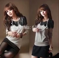 New 2014 Women clothing autumn plus size female lace t-shirt women Sweet long sleeve length basic Bottoming shirt