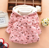 Winter Baby Girl Coat Printing Bear Thicken Add Wool Warm Lace Children Cotton Coat 4 Colour  Fit 1-5Age Kids Outwear WD207