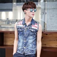 2014 New Arrival Casual Stylish Men's Retro Denim Vest Jean Slim Waistcoat Outwear Top Jacket [3 11-0312]