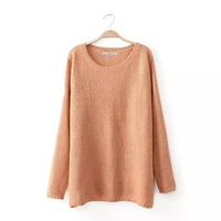 2014 New Autumn Women Fashion Knitted Pullovers with Crossing Back Design Lady Casual Sweater Soft O-neck Knitwear 7019401602