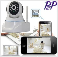 HD 720P H.264 MJPG WiFi Indoor P/T IP Camera with IR-Cut Two-way Audio Support 32G Micro SD Card