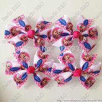 20pcs/lot 3.5'' Girl hair bow clips, FROZN hair accessories,Princess ELSA  ANNA hair bow clips 9085